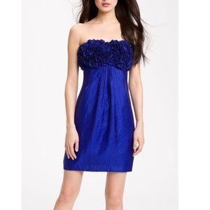 Alexia Admor Shimmer Satin Strapless Rosette Dress